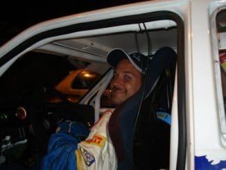 Stéphane Brunier à bord de sa voiture de course