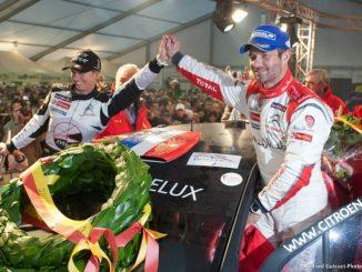 Sébastien Loeb et Séverine au Condroz 2013 : podium et fleurs