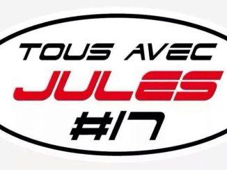 Tous avec Jules #17 : l'autocollant porté par les pilotes. Jules Bianchi.