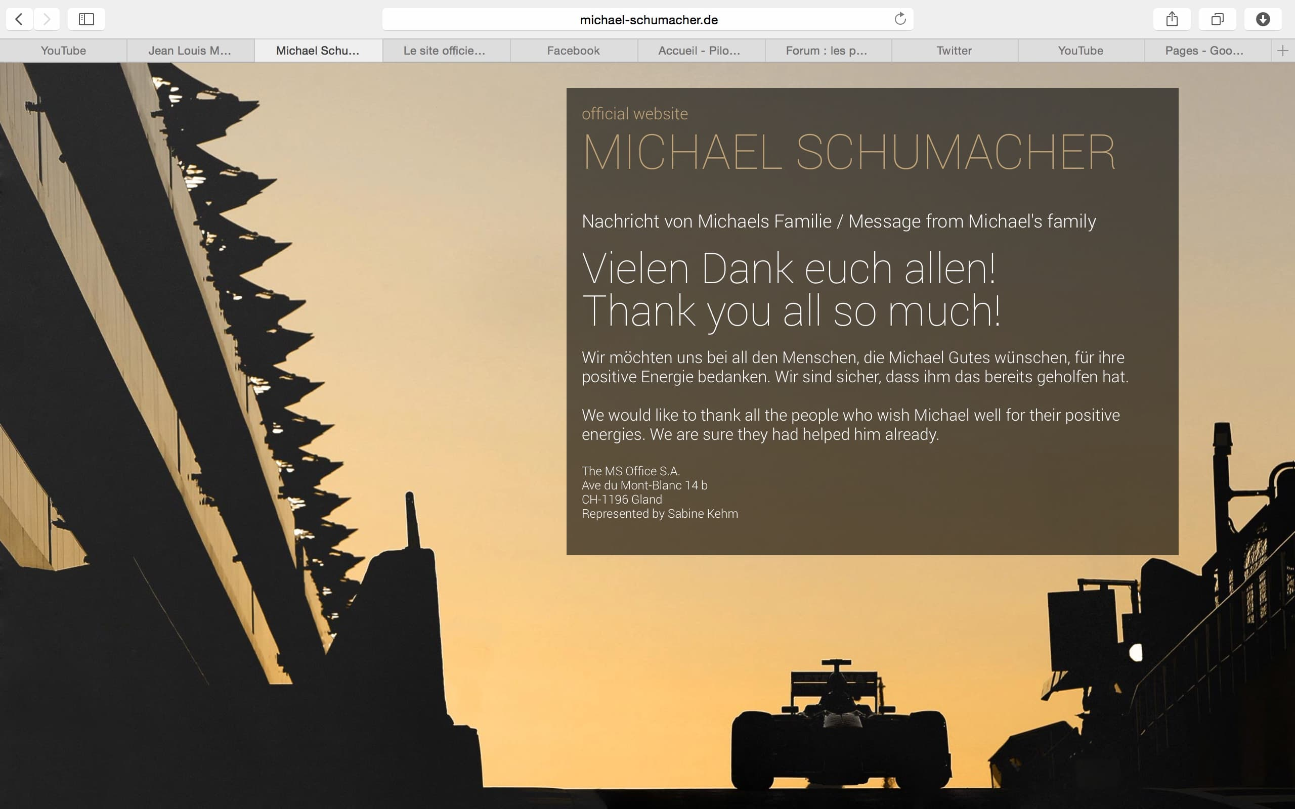 Michael Schumacher : nouveau site KeepFightingMichael.  Pilote de