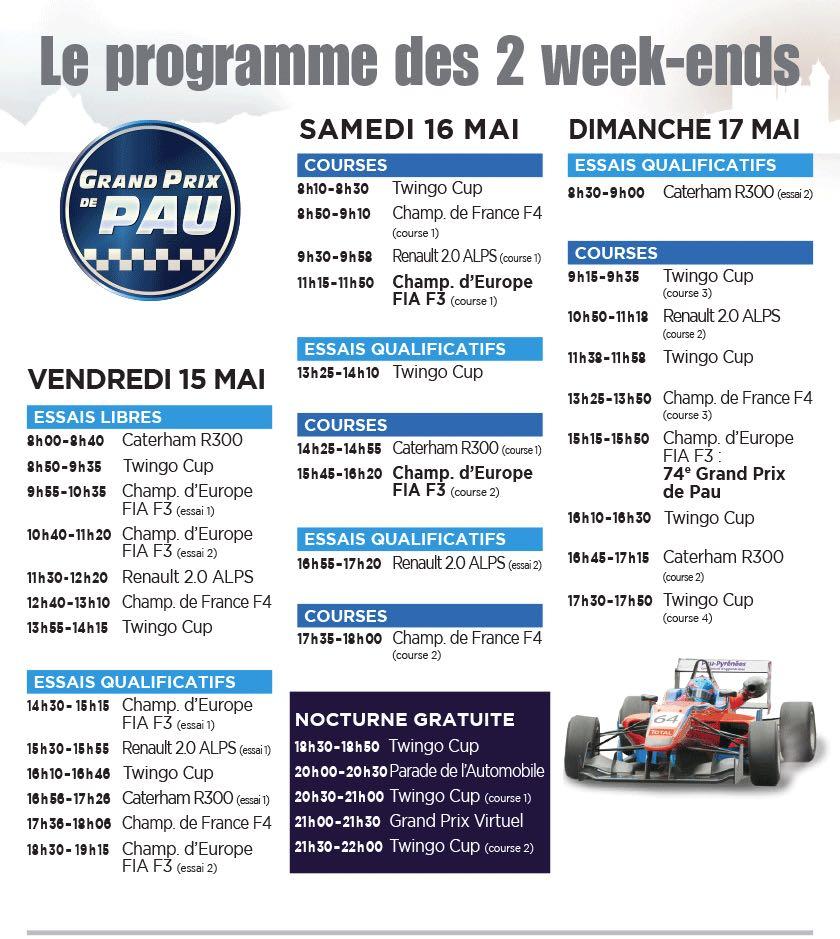 Programme Grand Prix de Pau 2015