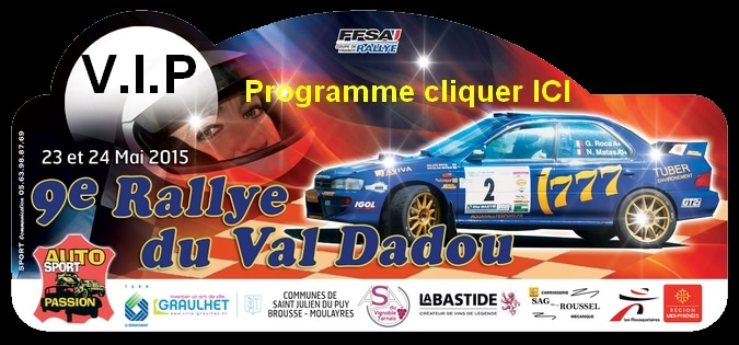 plaque et engagés rallye Val Dadou 2015