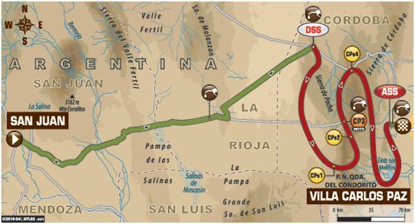Dakar 2016 Etape 12 carte