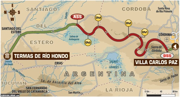Dakar 2016 Etape 2 carte