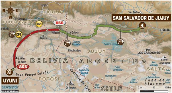 Dakar 2016 Etape 5 carte