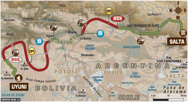 Dakar 2016 Etape 7 carte