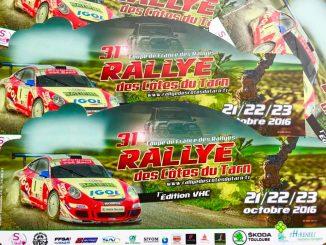Liste des engagés au Rallye des Côtes du Tarn 2016