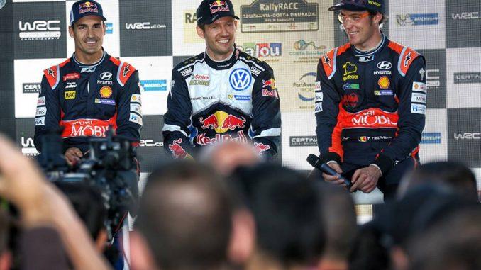 WRC 2016 : Sordo, Ogier et Neuville lors de la conférence de presse. (c) : Sophie Graillon