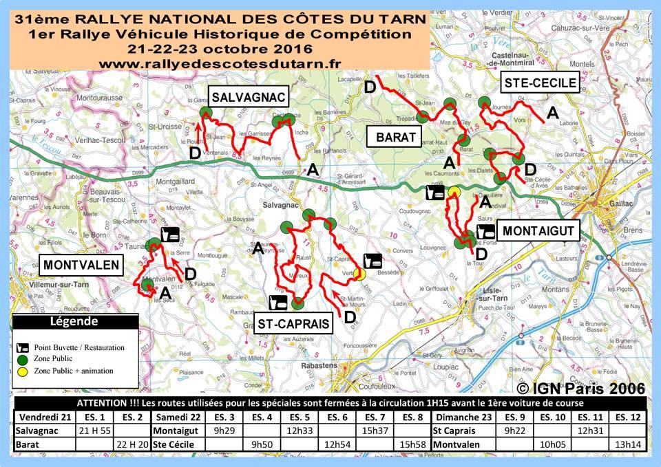 Parcours Rallye des Côtes du Tarn 2016