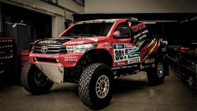 Le Toyota Hilux Gazoo Racing et ses grandes roues. (c) : DR