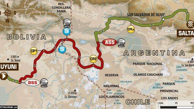 Dakar 2017 Etape 8 : la carte. (c) : ASO