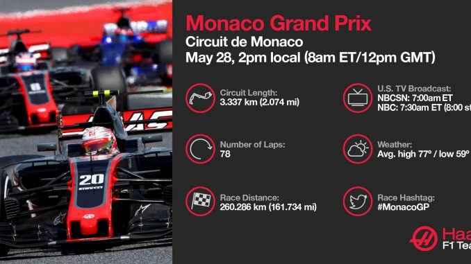 Programme TV GP de Monaco 2017. (c) : Haas F1