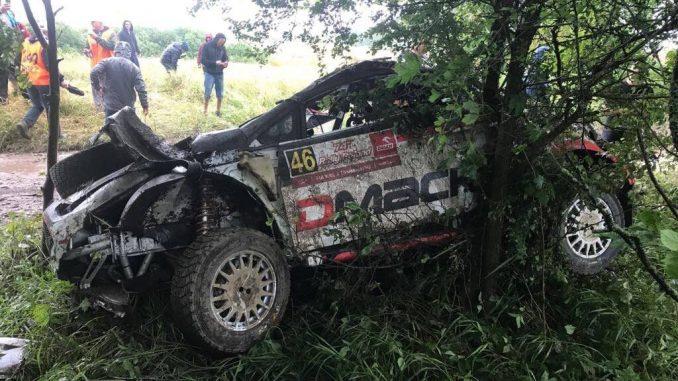 Abandons Rallye Pologne 2017 Osian Pryceet sa Ford Fiesta R5 aux couleurs de DMACK. (c) : DR