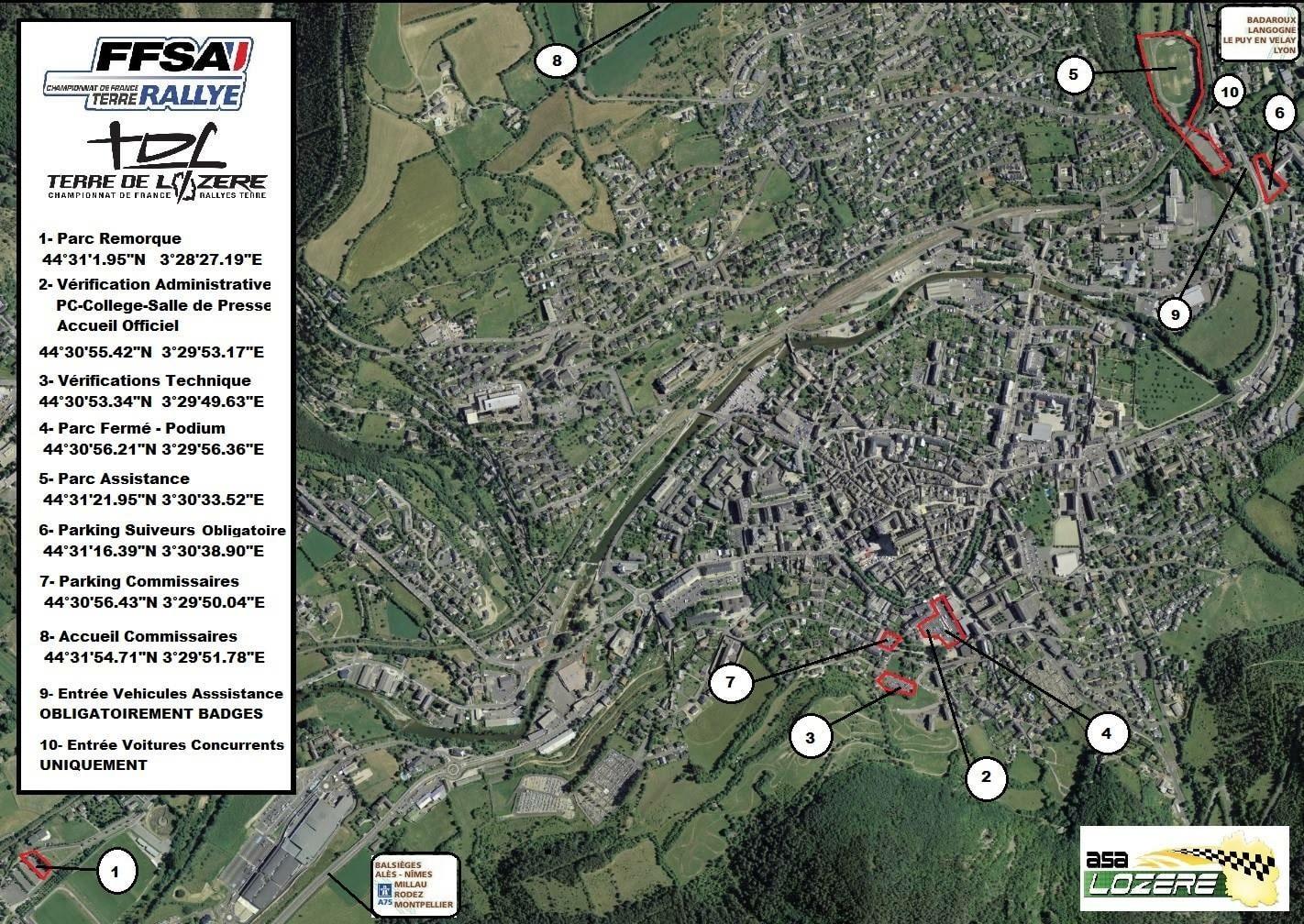 Carte Mende. Rallye Terre de Lozère 2017