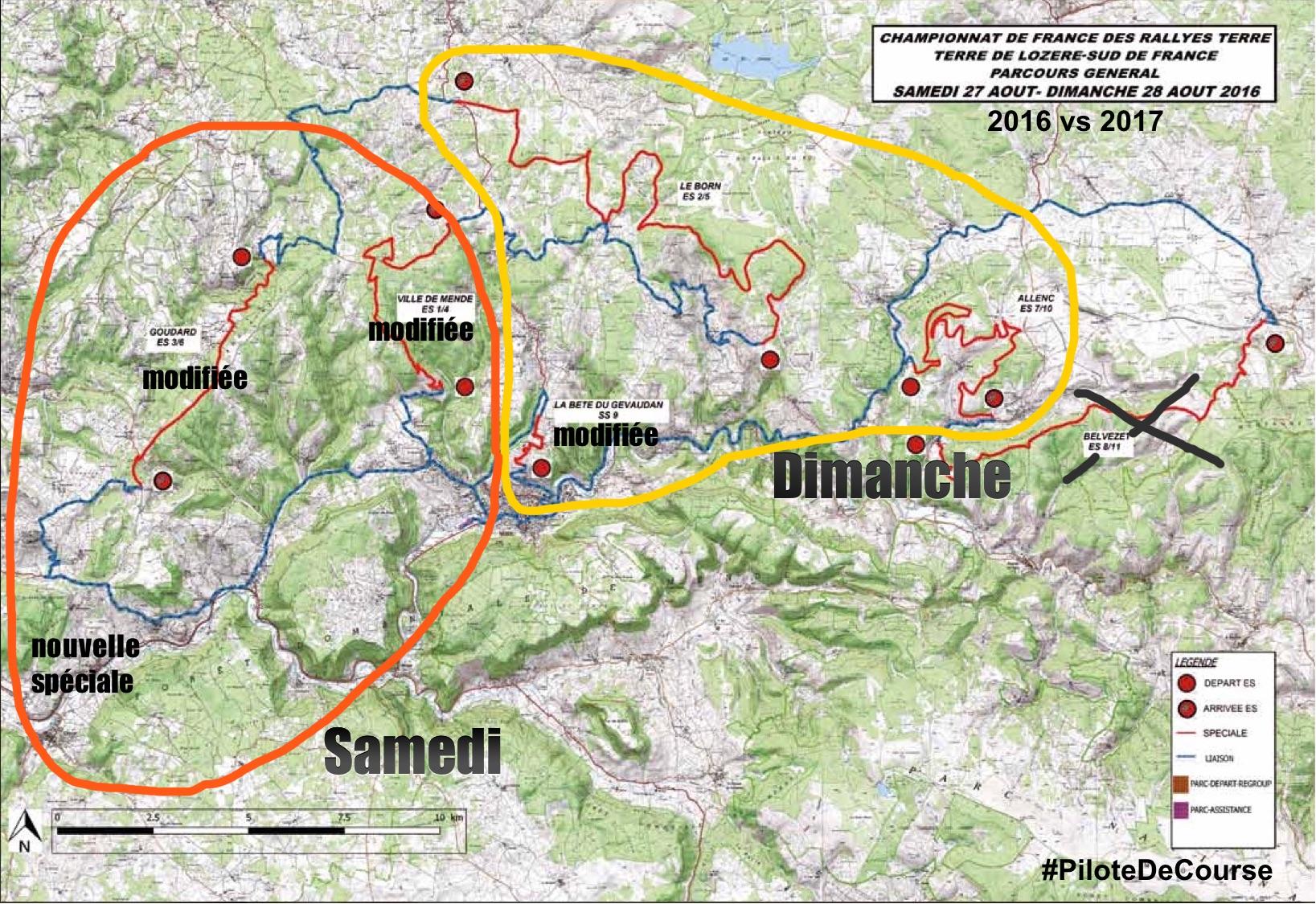Carte Rallye Terre de Lozère 2016 vs 2017. (c) : PILOTE-DE-COURSE