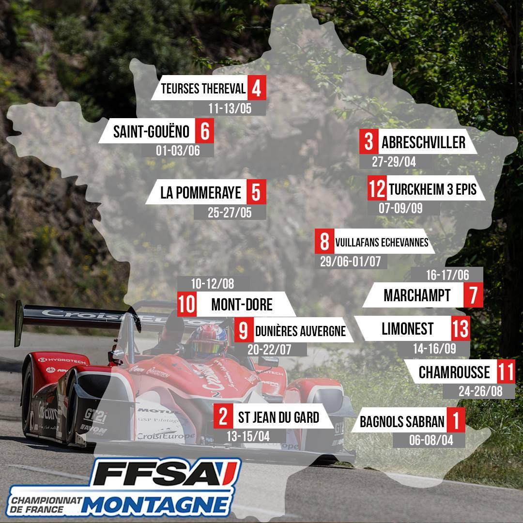 Carte calendrier championnat de France de la Montagne 2018