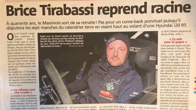 Loic Declerck en R5 avec Brice Tirabassi pour 2018 (c) : Var Matin