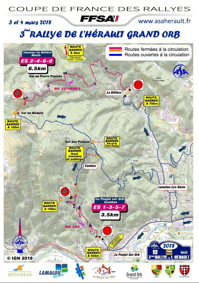 Carte Générale Rallye de l'Herault 2018