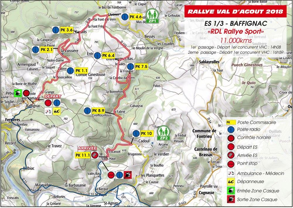 Carte ES1/3 Rallye du Val D'Agout 2018
