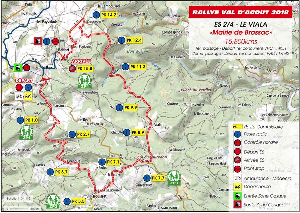 Carte ES2/4 Rallye du Val D'Agout 2018