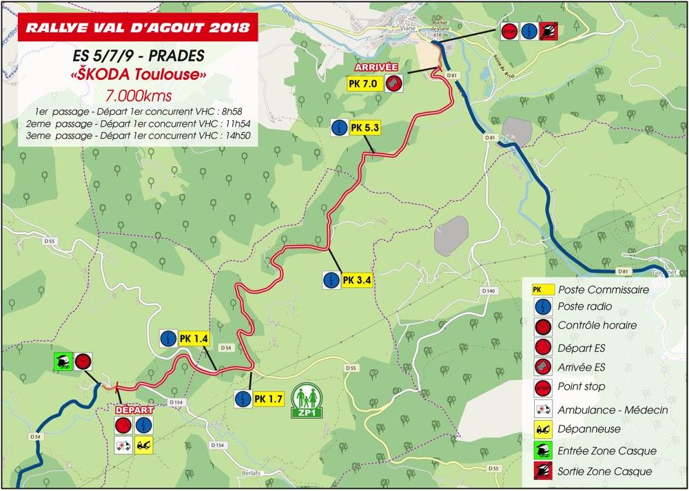 Carte ES5/7/9 Rallye du Val D'Agout 2018