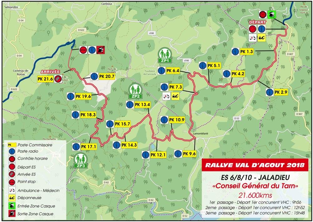 Carte ES6/8/10 Rallye du Val D'Agout 2018
