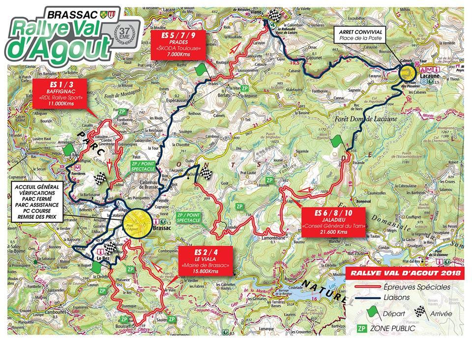 Carte générale du Rallye du Val d'Agout 2018