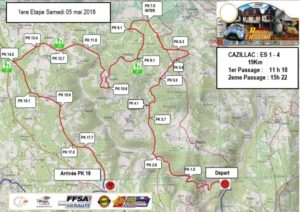 Cartes des spéciales du Rallye Castine Terre d'Occitanie 2018