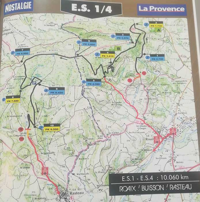 Carte ES1 Rallye Terre de Vaucluse 2018