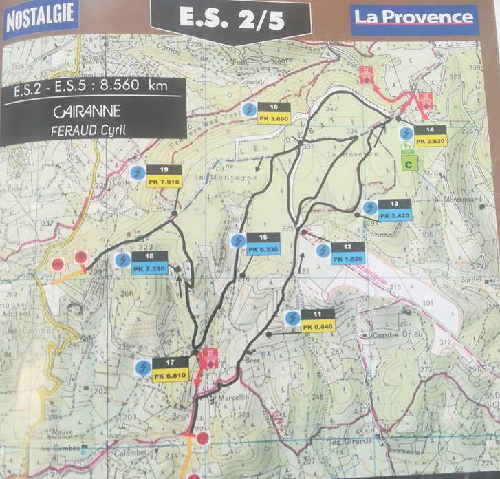 Carte ES2 Rallye Terre de Vaucluse 2018