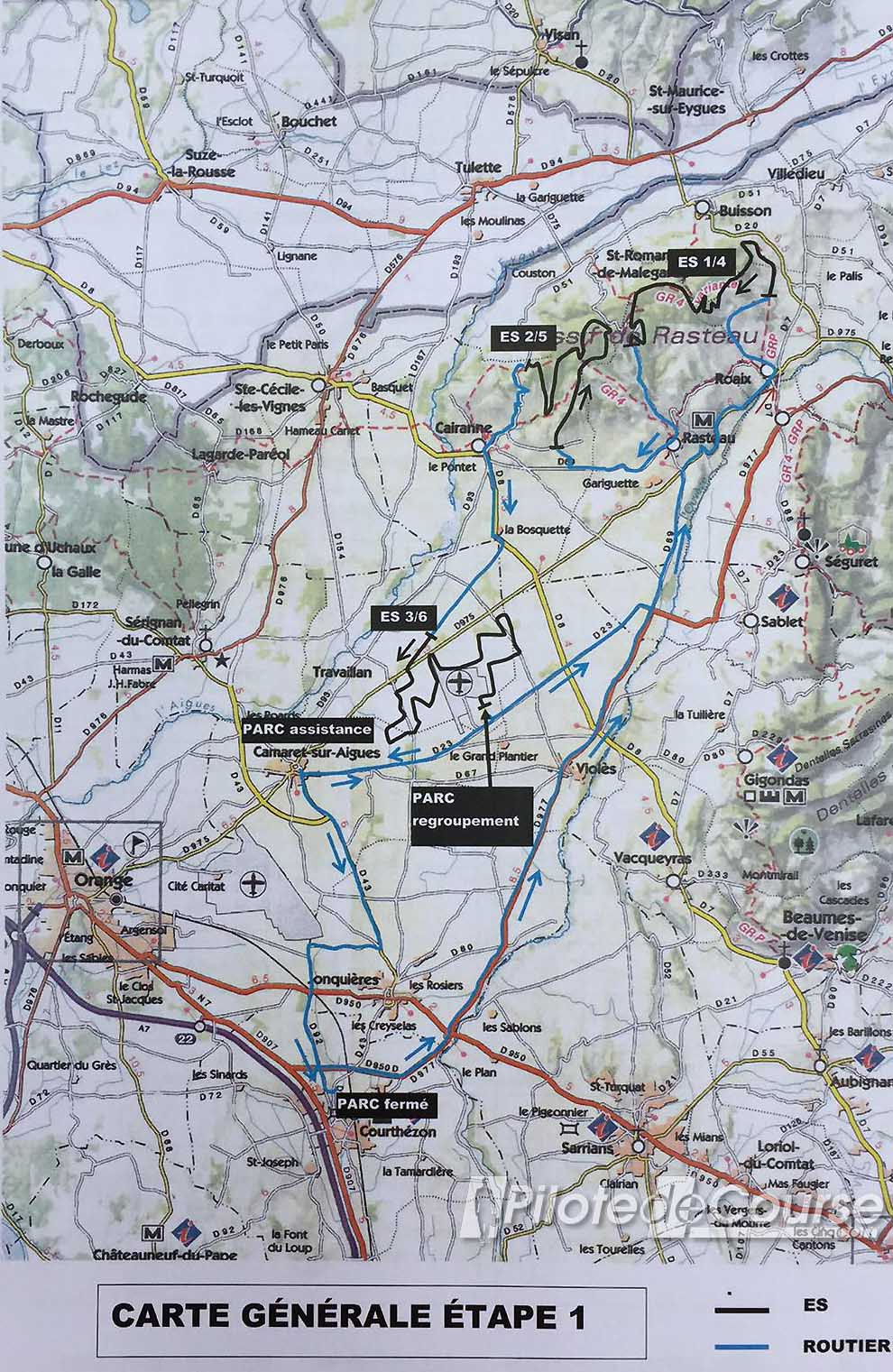 Carte général Jour 1 Rallye Terre de Vaucluse 2018 copie