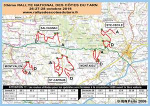 Carte générale Rallye des Côtes du Tarn 2018