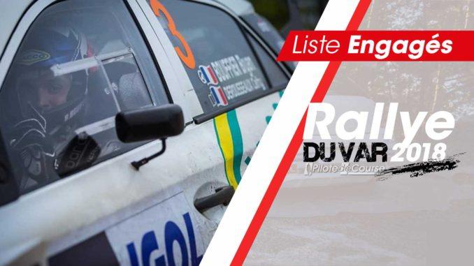 Liste des engagés Rallye du Var 2018.