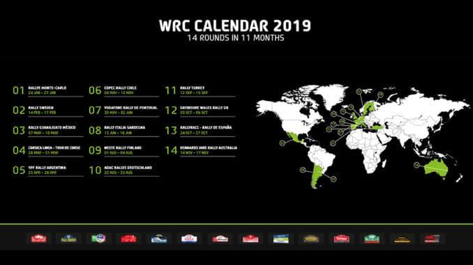 calendrier WRC 2019