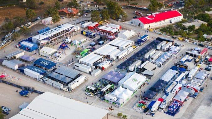 Vue aérienne du paddock Hyundai Motorsport