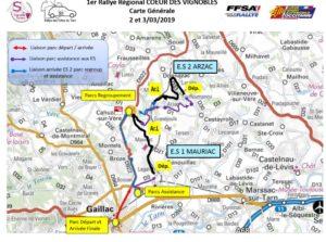 CARTE GENERALE Rallye Coeur de Vignoble 2019