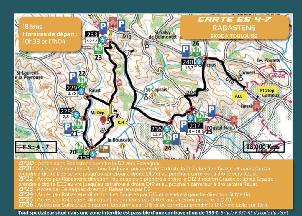 Carte ES4 et 7 - Finale Coupe de France Rallye Albi 2019