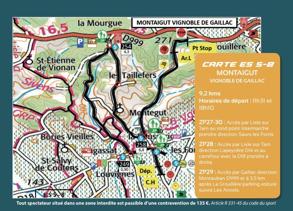 Carte ES5 et 8 - Finale Coupe de France Rallye Albi 2019