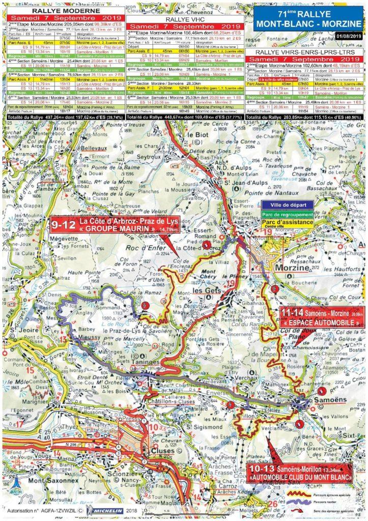 Carte Rallye Mont-Blanc 2019 samedi