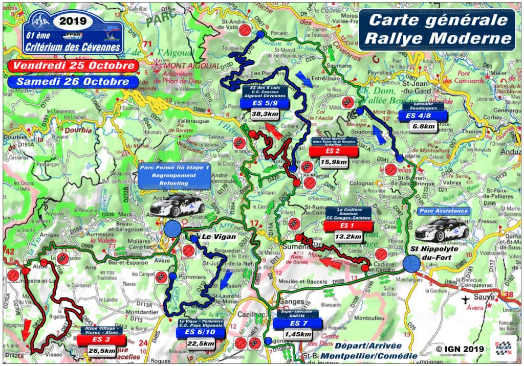 Cartes du Critérium des Cévennes 2019