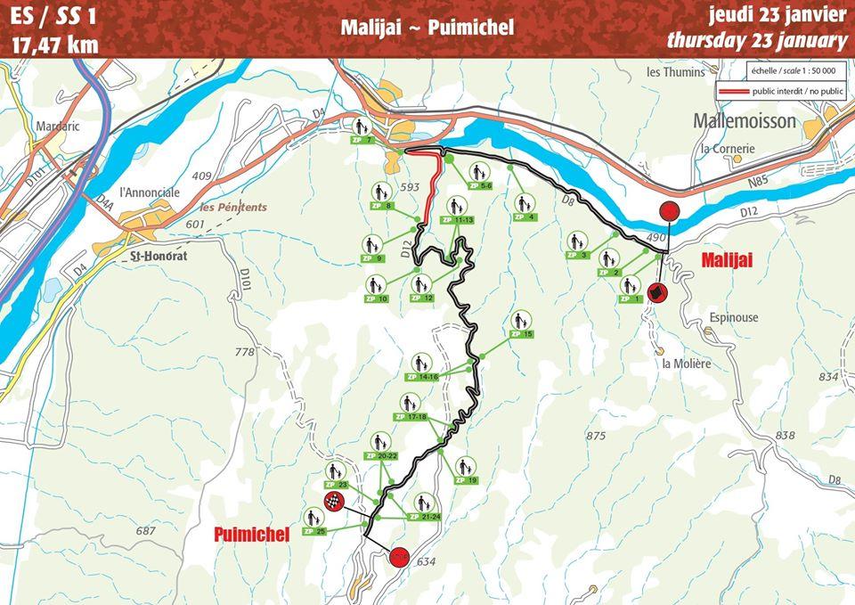 Carte ES 1 Rallye Monte-Carlo 2020