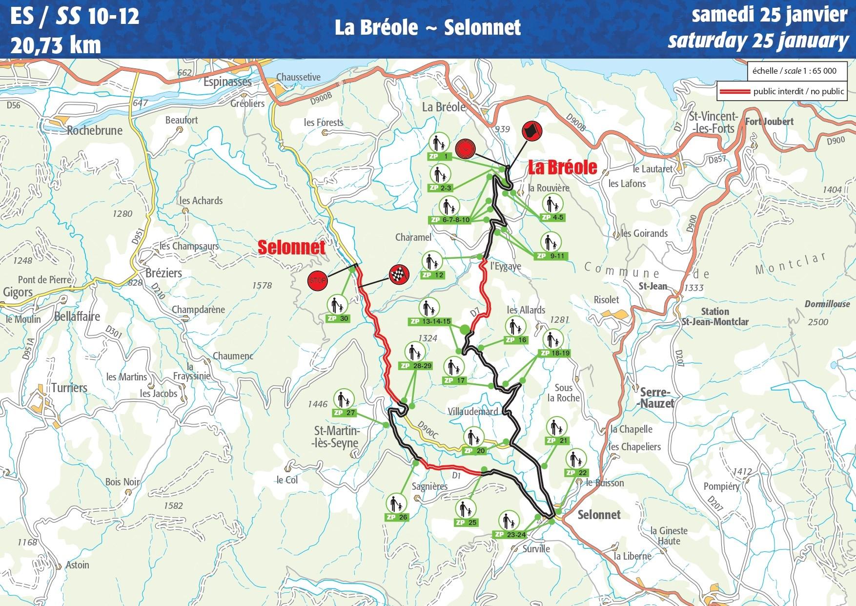 Carte ES 10-12 Rallye Monte-Carlo 2020