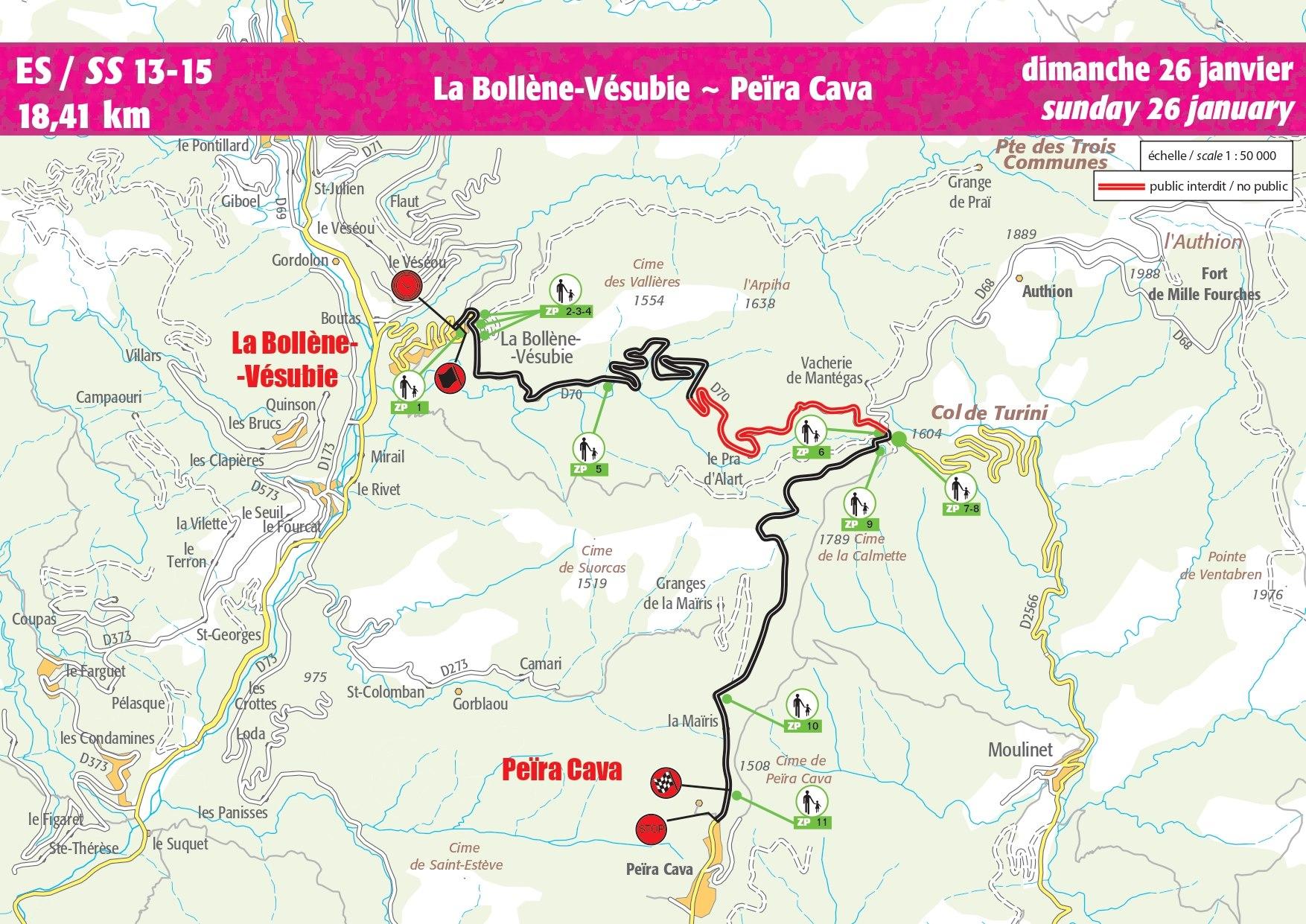 Carte ES 13-15 Rallye Monte-Carlo 2020