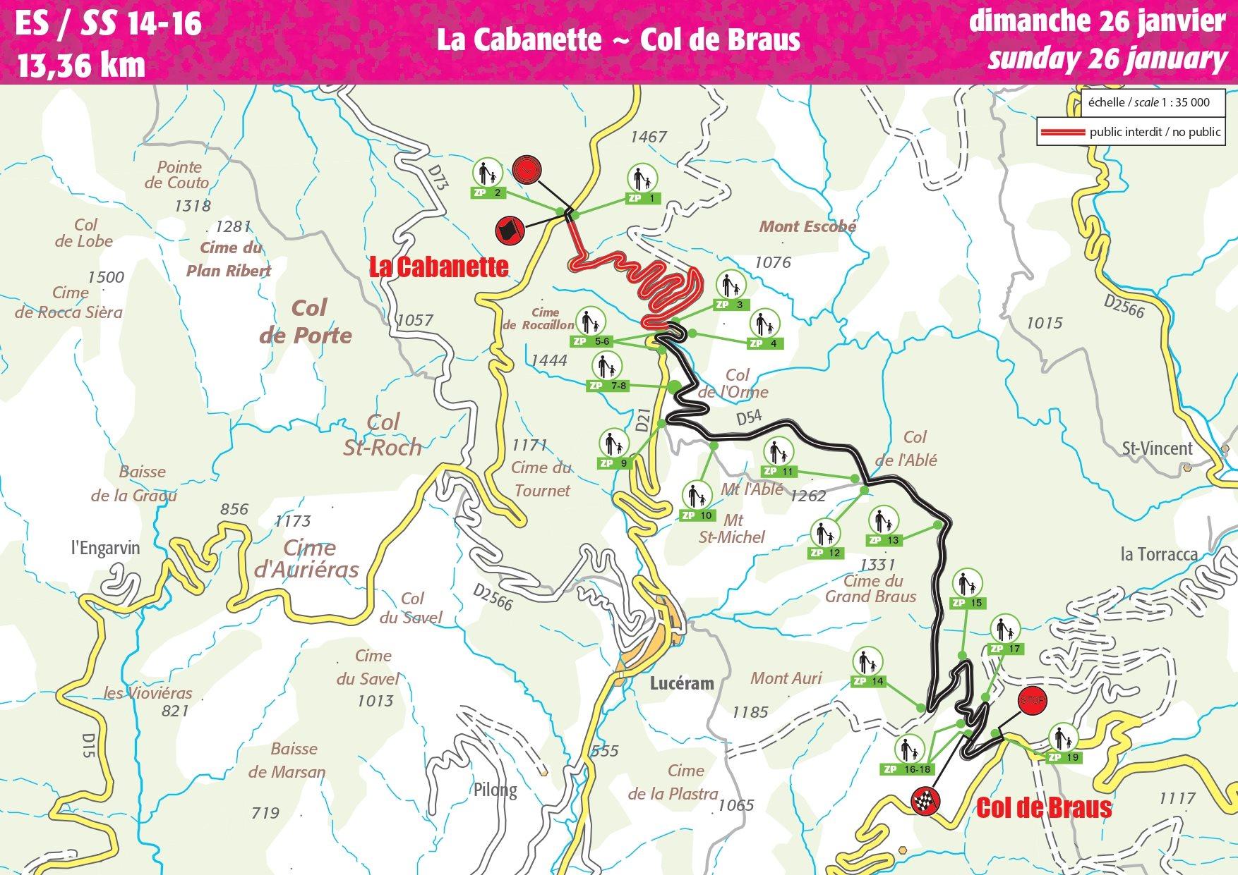 Carte ES 14-16 Rallye Monte-Carlo 2020