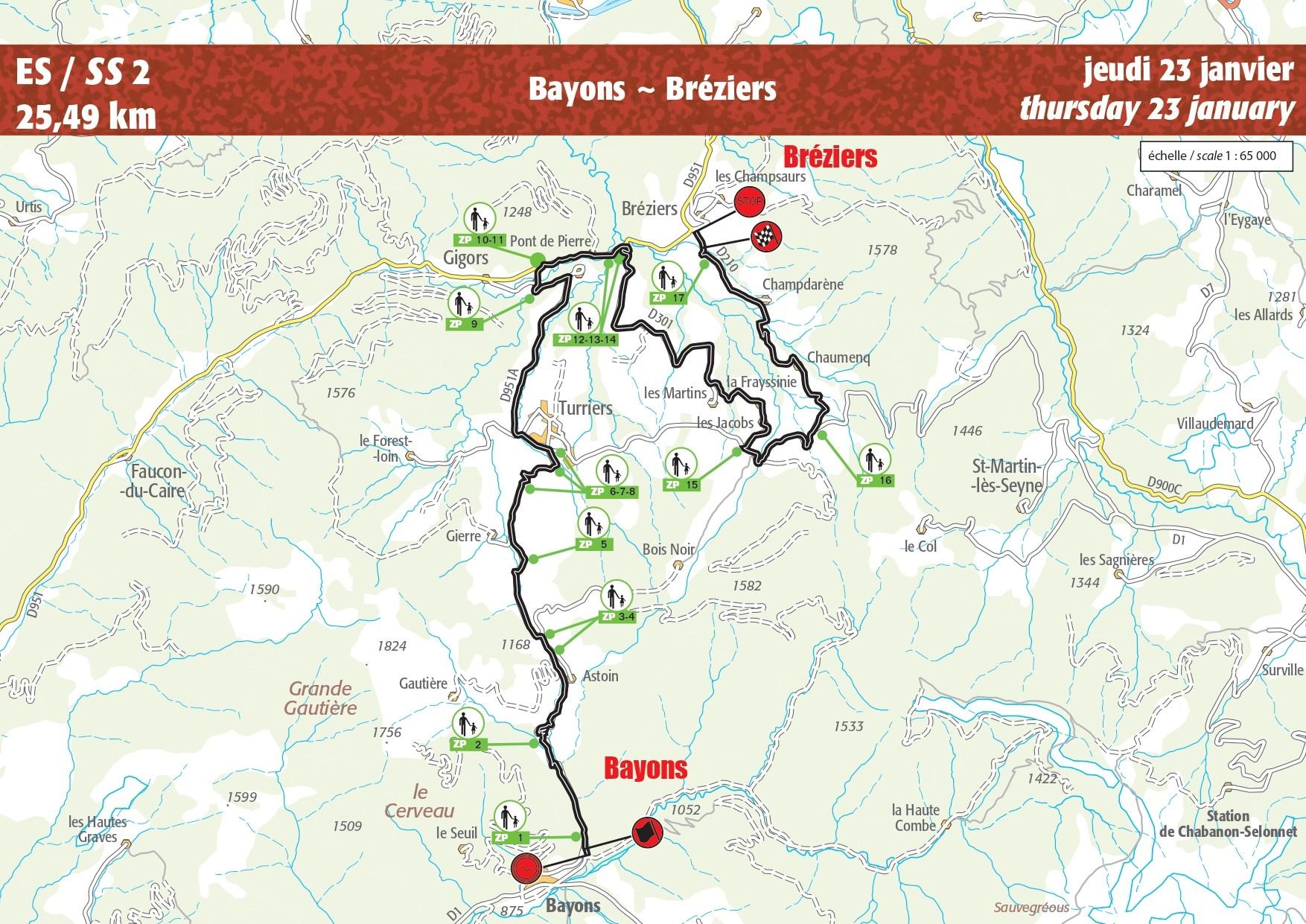 Carte ES 2 Rallye Monte-Carlo 2020