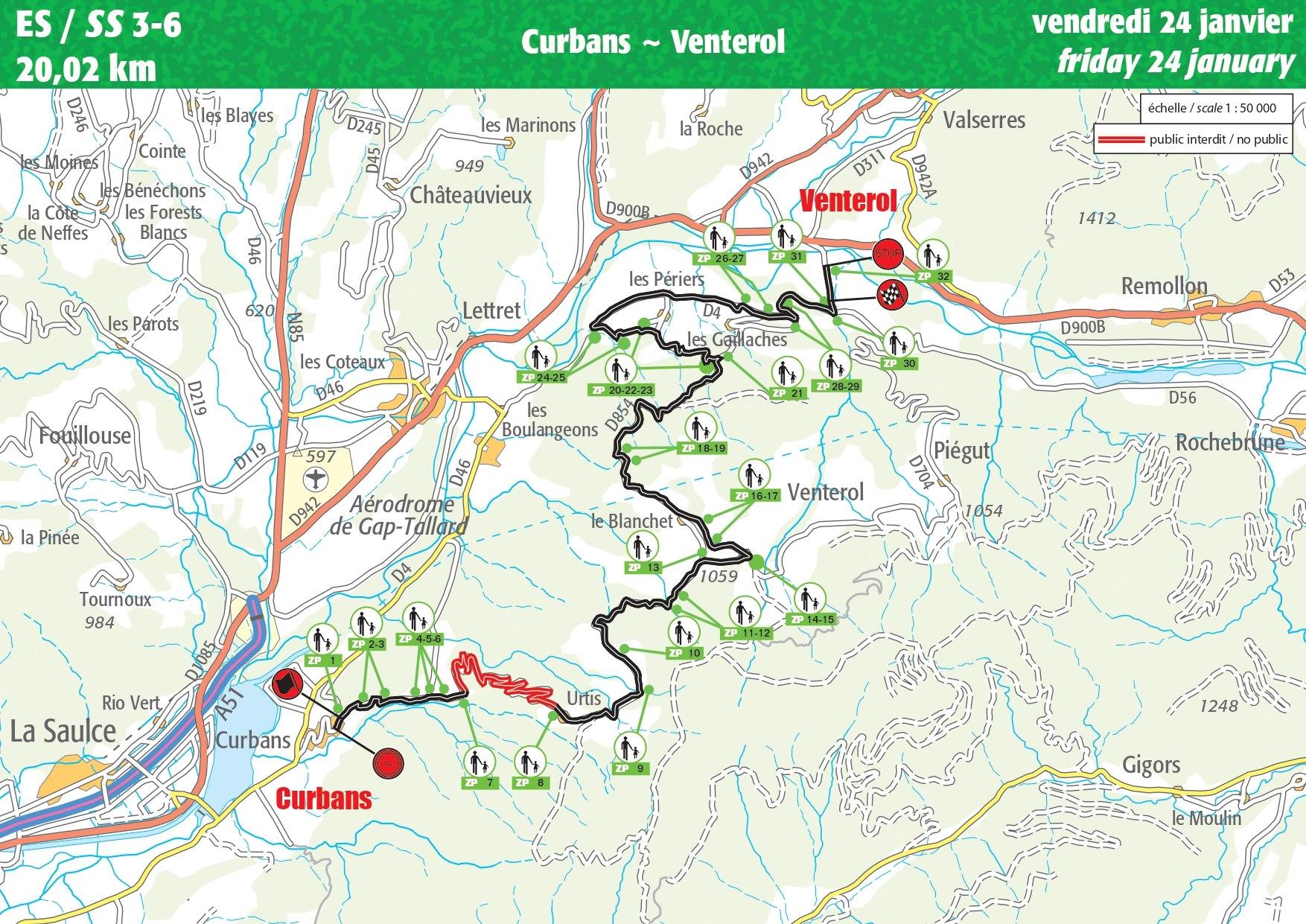 Carte ES 3-6 Rallye Monte-Carlo 2020