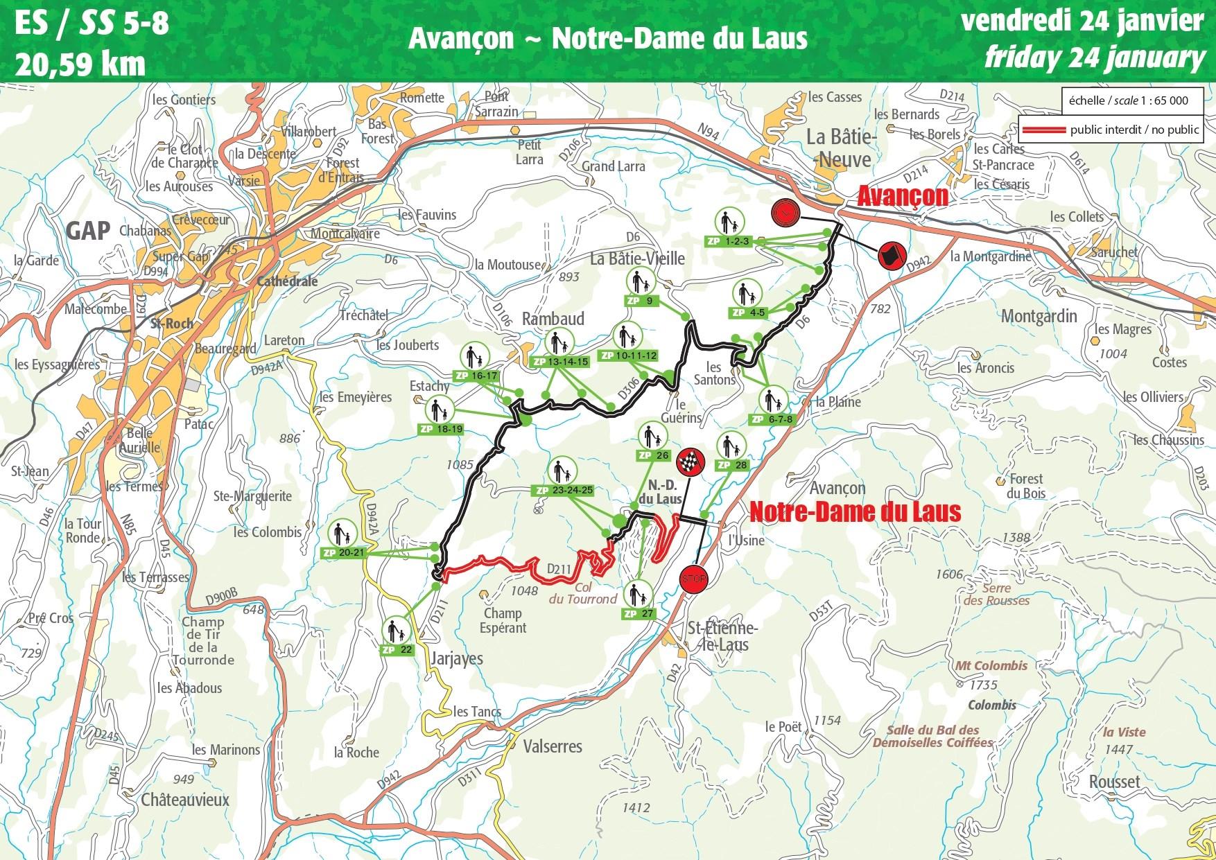 Carte ES 5-8 Rallye Monte-Carlo 2020