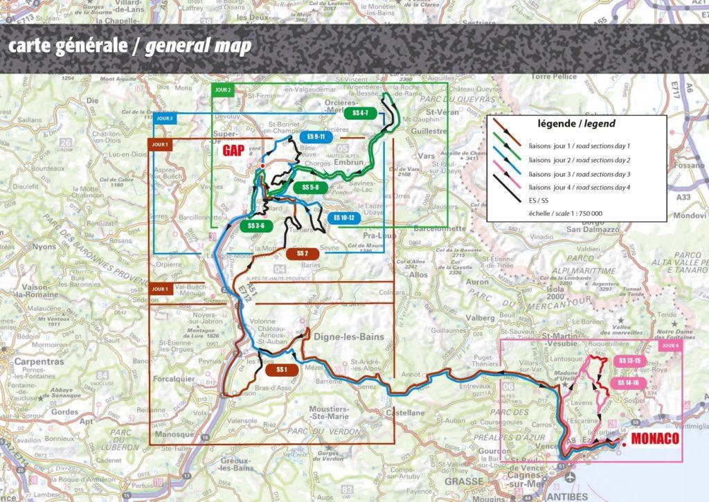 carte générale Rallye Monte-Carlo 2020