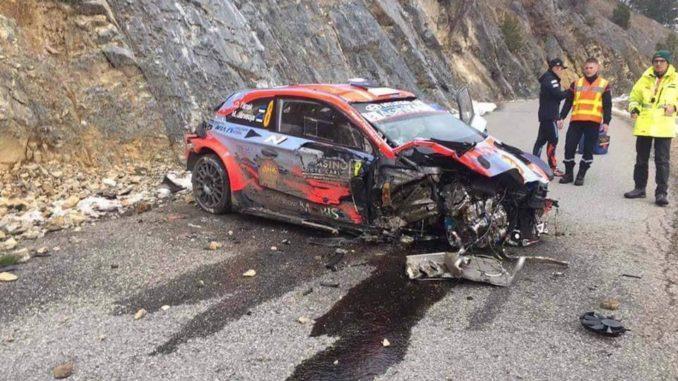 Hyundai Tanak crash Monte-Carlo 2020