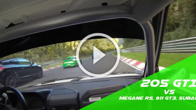 205 GTI au milieu des Megane RS et Porsche GT3